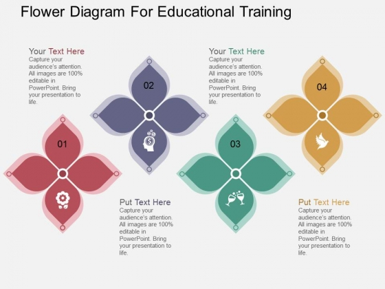 Flower Diagram For Educational Training Powerpoint Template
