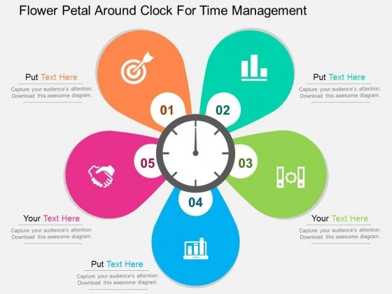 Flower Petal Around Clock For Time Management Powerpoint Templates