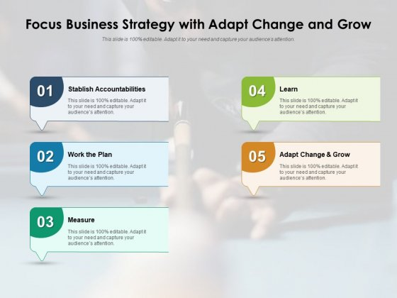 Focus Business Strategy With Adapt Change And Grow Ppt PowerPoint Presentation Gallery Slide Download PDF