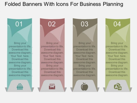 Folded Banners With Icons For Business Planning Powerpoint Template