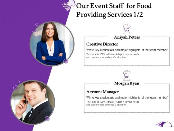 Food Providing Services Catering Menu For Food Providing Services Our Event Staff For Food Providing Services Creative Elements PDF