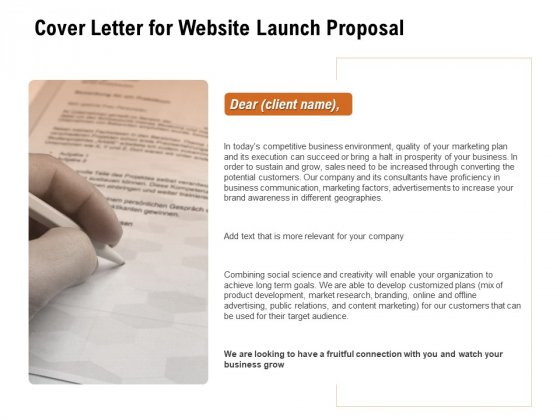 For Launching Company Site Cover Letter For Website Launch Proposal Pictures PDF