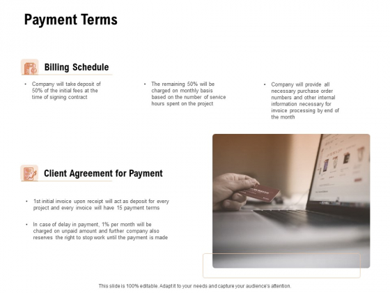 For Launching Company Site Payment Terms Ppt PowerPoint Presentation Icon Layout PDF