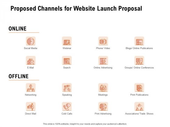 For Launching Company Site Proposed Channels For Website Launch Proposal Background PDF