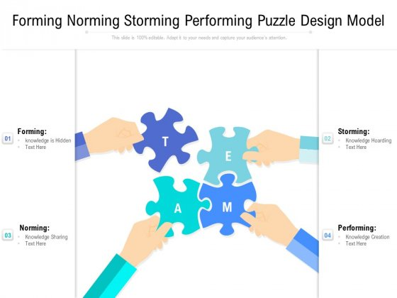 Forming Norming Storming Performing Puzzle Design Model Ppt PowerPoint Presentation Pictures Styles PDF