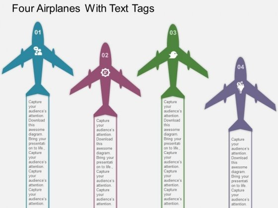 Four Airplanes With Text Tags Powerpoint Templates