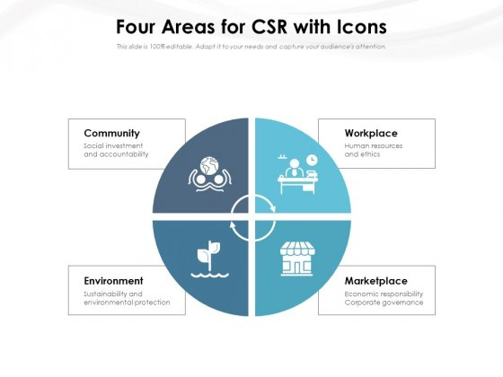 Four Areas For CSR With Icons Ppt PowerPoint Presentation Gallery Professional PDF