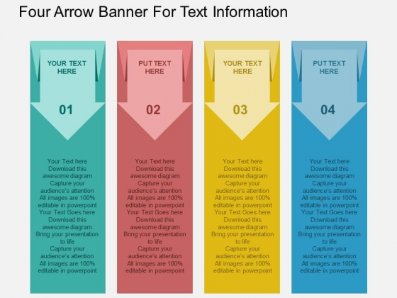 Four Arrow Banner For Text Information Powerpoint Templates