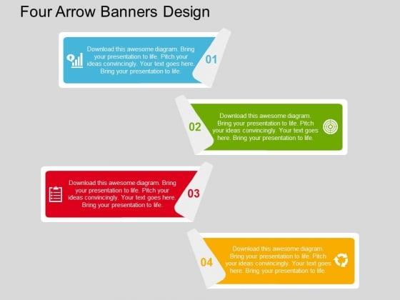 Four Arrow Banners Design Powerpoint Templates
