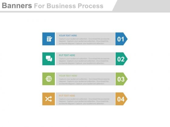 Four Arrow Banners For Synergy And Merger Powerpoint Template