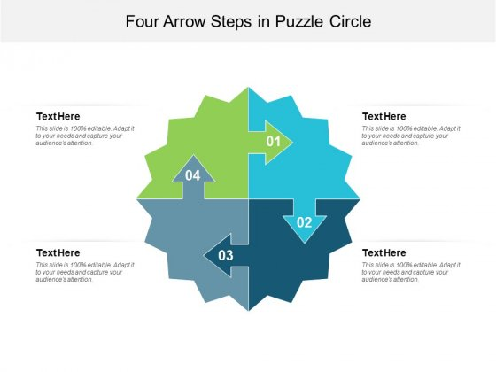 Four Arrow Steps In Puzzle Circle Ppt Powerpoint Presentation Styles Files