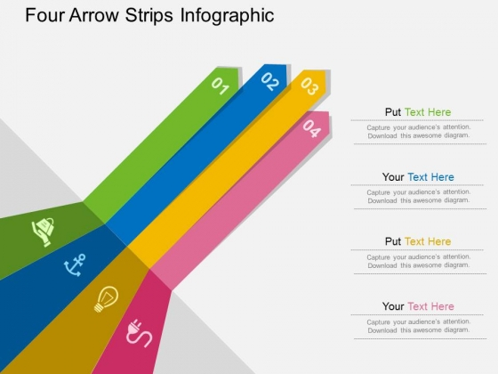 Four Arrow Strips Infographic Powerpoint Templates
