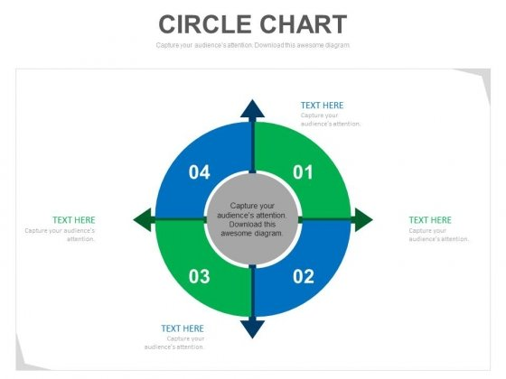 Four Arrows Circle Chart Process Strategy Powerpoint Template