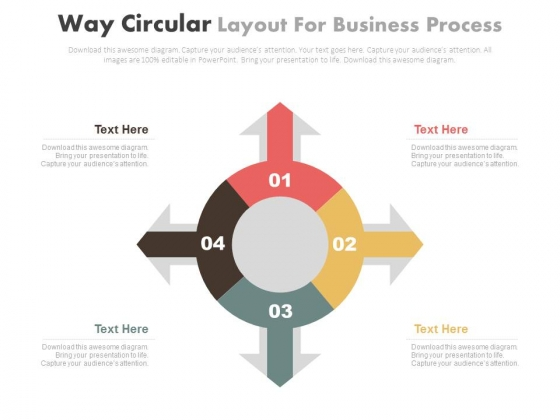 Four Arrows Circular Diagram For Business Process Powerpoint Slides