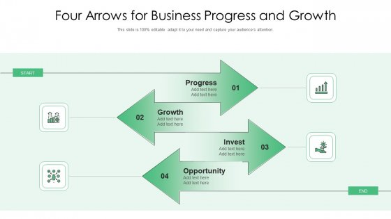 Four Arrows For Business Progress And Growth Ppt PowerPoint Presentation Gallery Design Ideas PDF