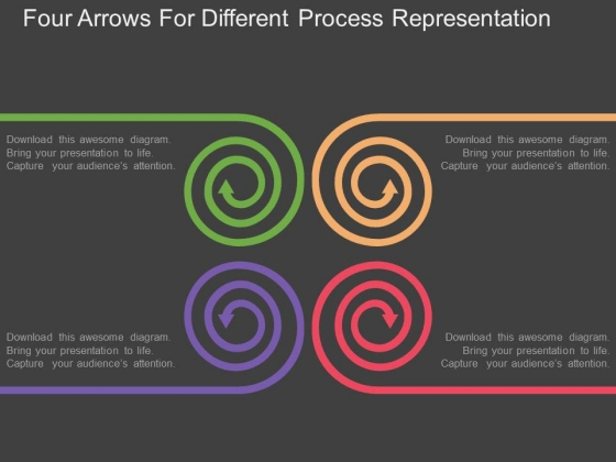 Four Arrows For Different Process Representation Powerpoint Template
