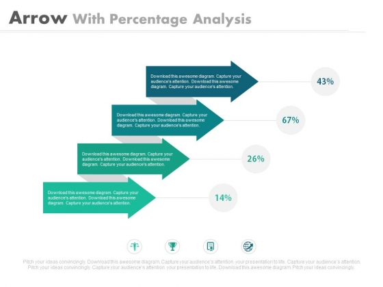 Four Arrows For Percentage Ratio Analysis Powerpoint Slides