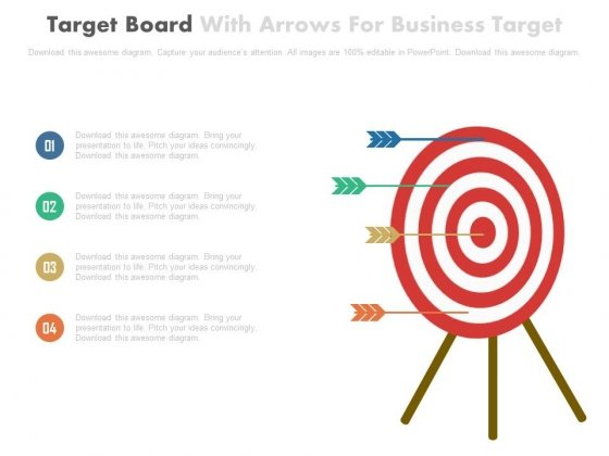 Four Arrows On Target Board Powerpoint Slides