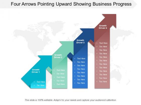 Four Arrows Pointing Upward Showing Business Progress Ppt Powerpoint Presentation Professional Ideas