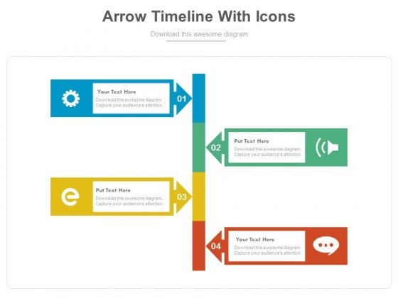 Four Arrows Signboard With Icons Powerpoint Template