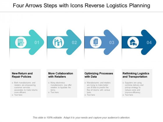 Four Arrows Steps With Icons Reverse Logistics Planning Ppt Powerpoint Presentation Outline Demonstration