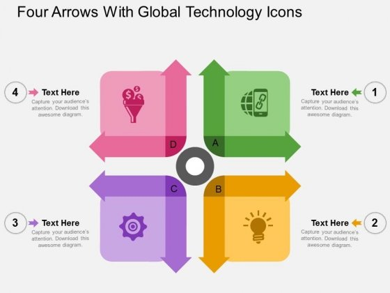 Four Arrows With Global Technology Icons Powerpoint Templates