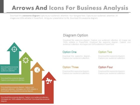 Four Arrows With Icons For Business Analysis Powerpoint Slides