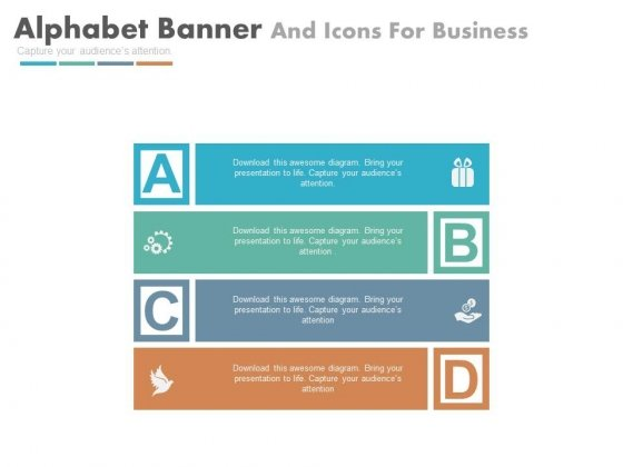 Four Banners And Icons In Alphabetic Order Powerpoint Template