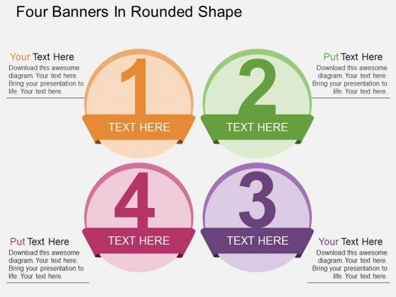 Four Banners In Rounded Shape Powerpoint Templates