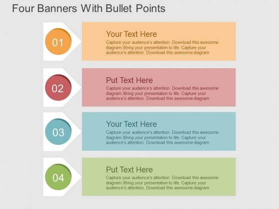 Four Banners With Bullet Points Powerpoint Templates