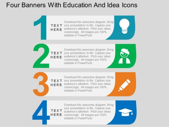Four Banners With Education And Idea Icons Powerpoint Template