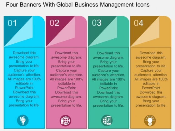 Four Banners With Global Business Management Icons Powerpoint Template