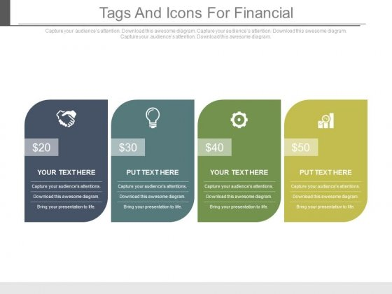 Four Banners With Icons For Financial Planning Powerpoint Slides