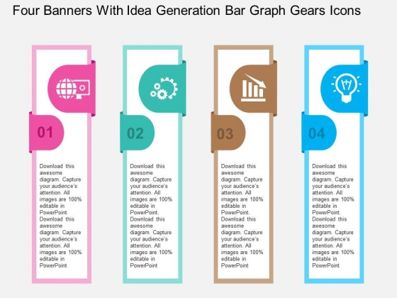 Four Banners With Idea Generation Bar Graph Gears Icons Powerpoint Templates
