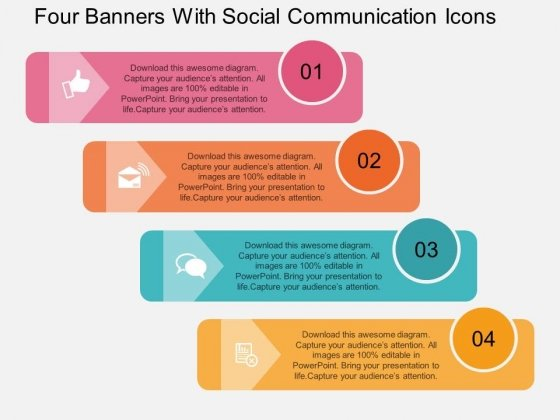 Four Banners With Social Communication Icons Powerpoint Template