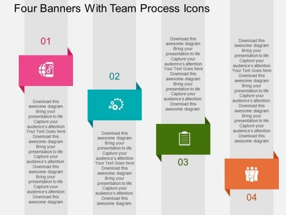 Four Banners With Team Process Icons Powerpoint Templates