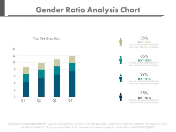 Four Bars Gender Population Ratio Chart Powerpoint Slides