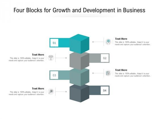 Four Blocks For Growth And Development In Business Ppt PowerPoint Presentation Pictures Graphics Example