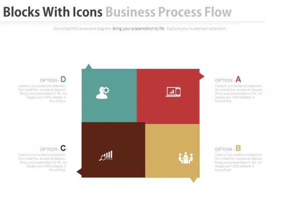 Four Blocks With Icons For Planning Strategy Powerpoint Template