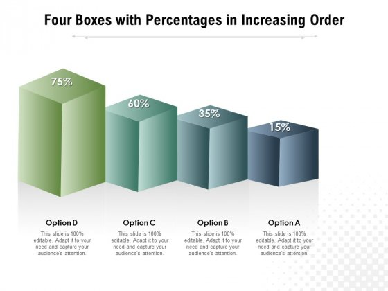 Four Boxes With Percentages In Increasing Order Ppt PowerPoint Presentation Outline Icons PDF