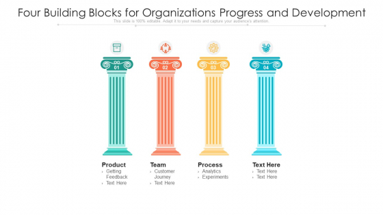 Four Building Blocks For Organizations Progress And Development Ppt PowerPoint Presentation File Layouts PDF