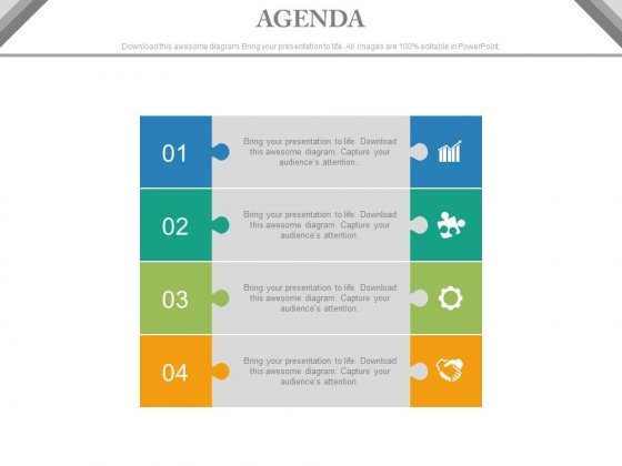 Four Business Agenda Steps With Icons Powerpoint Slides