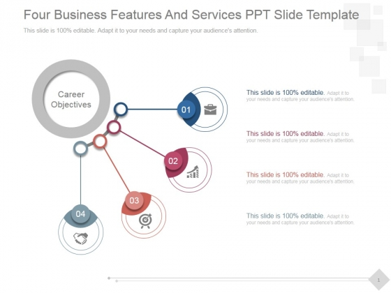 Four Business Features And Services Ppt PowerPoint Presentation Visual Aids