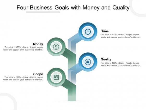 Four Business Goals With Money And Quality Ppt PowerPoint Presentation Summary