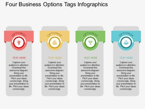 Four Business Options Tags Infographics Powerpoint Template