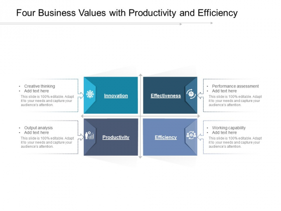 Four Business Values With Productivity And Efficiency Ppt PowerPoint Presentation Gallery Picture PDF