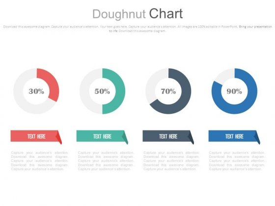 Four Circle Chart With Percentage Ratios Powerpoint Slides