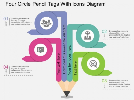 Four_Circle_Pencil_Tags_With_Icons_Diagram_Powerpoint_Template_1