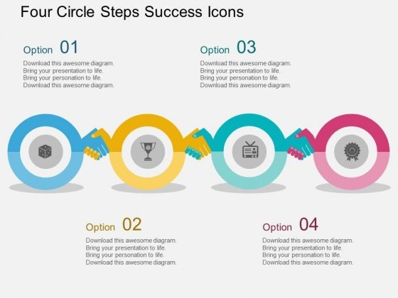 Four Circle Steps Success Icons Powerpoint Template