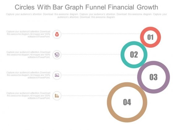Four Circles Chart Financial Growth Steps Powerpoint Slides